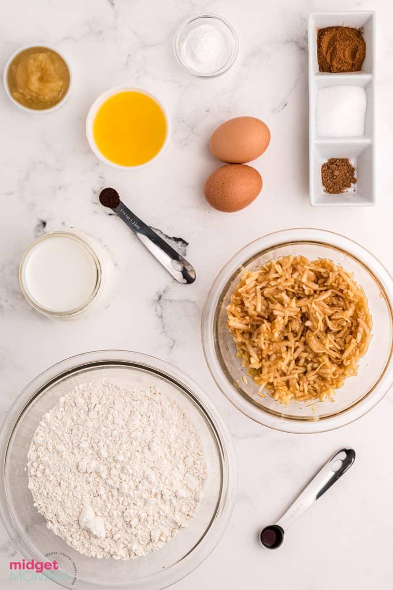 apple cinnamon pancakes ingredients in bowls