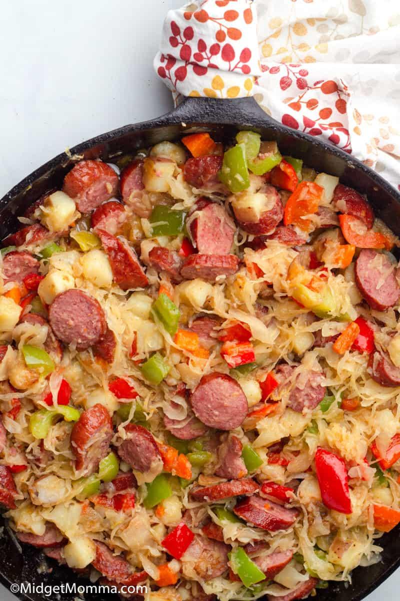 Kielbasa Sauerkraut Potatoes Skillet