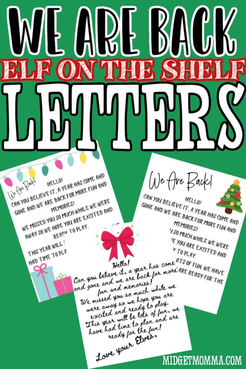Elf on the Shelf We are back letter