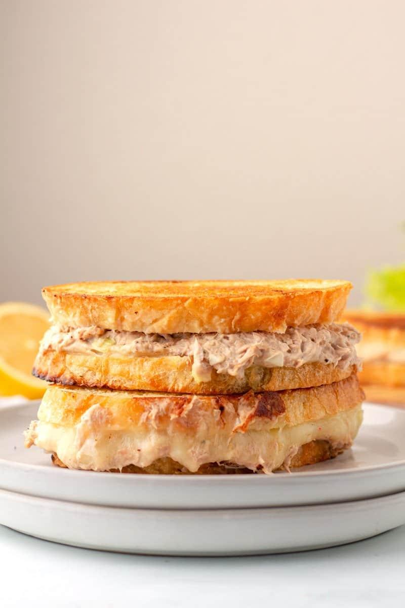 The best tuna melt sandwich on a plate