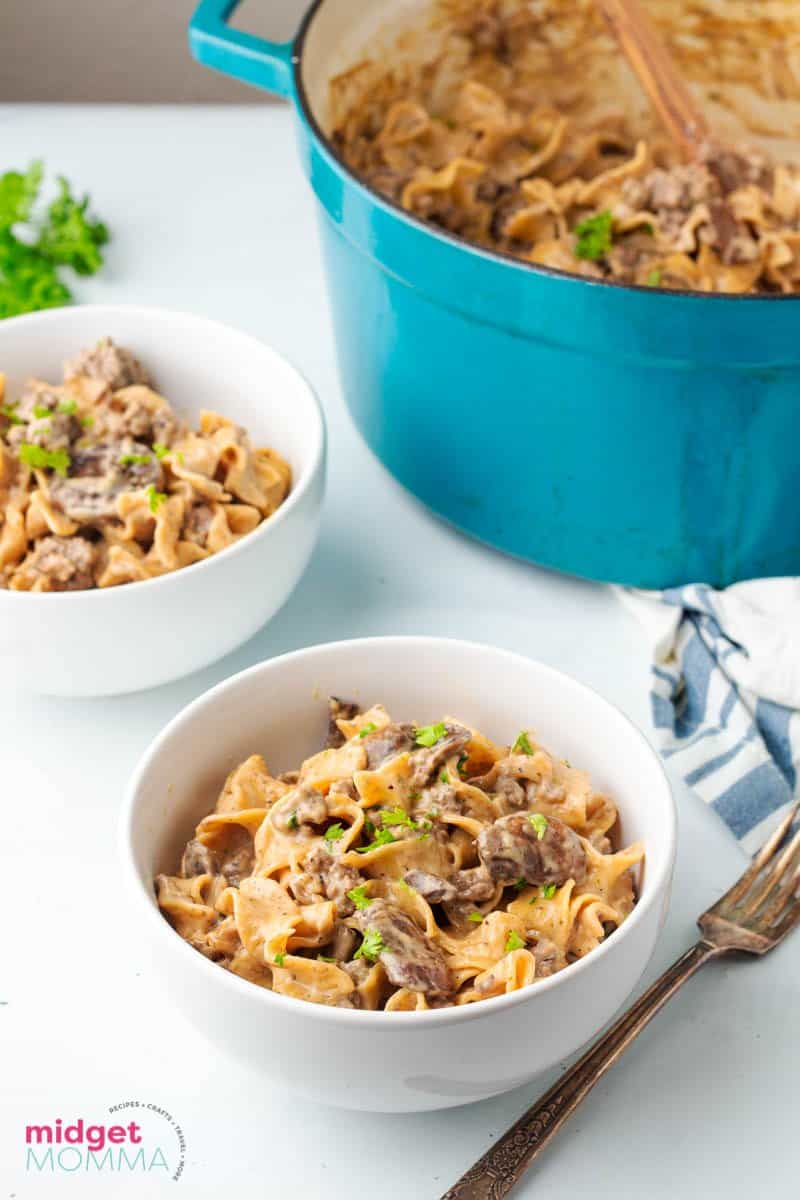 One-Pot Beef Stroganoff in a  serving bowl