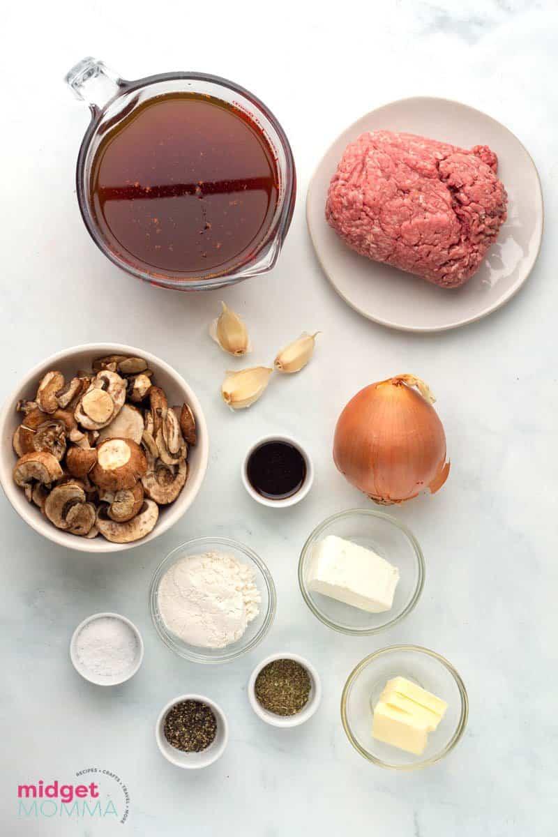 One-Pot Beef Stroganoff ingredients