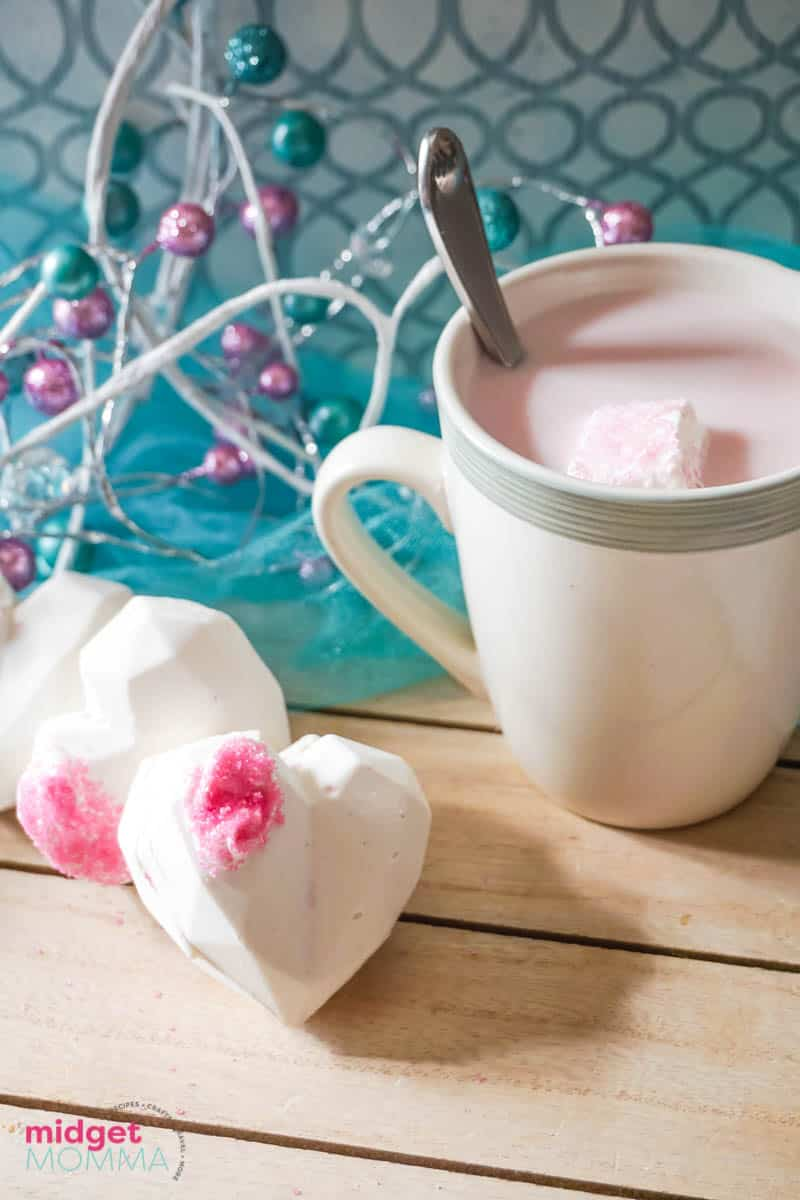 Heart Shaped Strawberry White Hot Chocolate Bombs