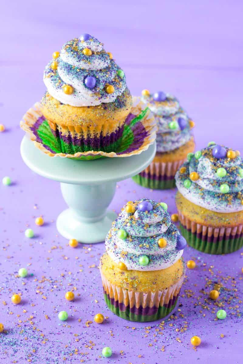 Mardi Gras Cinnamon Cupcakes