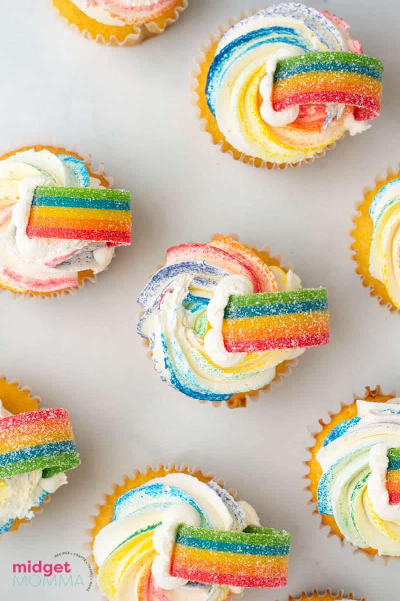 Rainbow Cupcakes close up