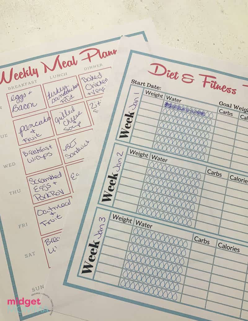 midgetmomma free meal planning and fitness tracker printable