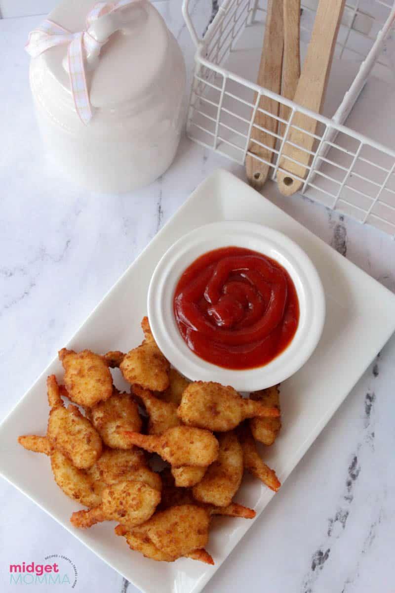 Air Fried Frozen Shrimp on a serving platter