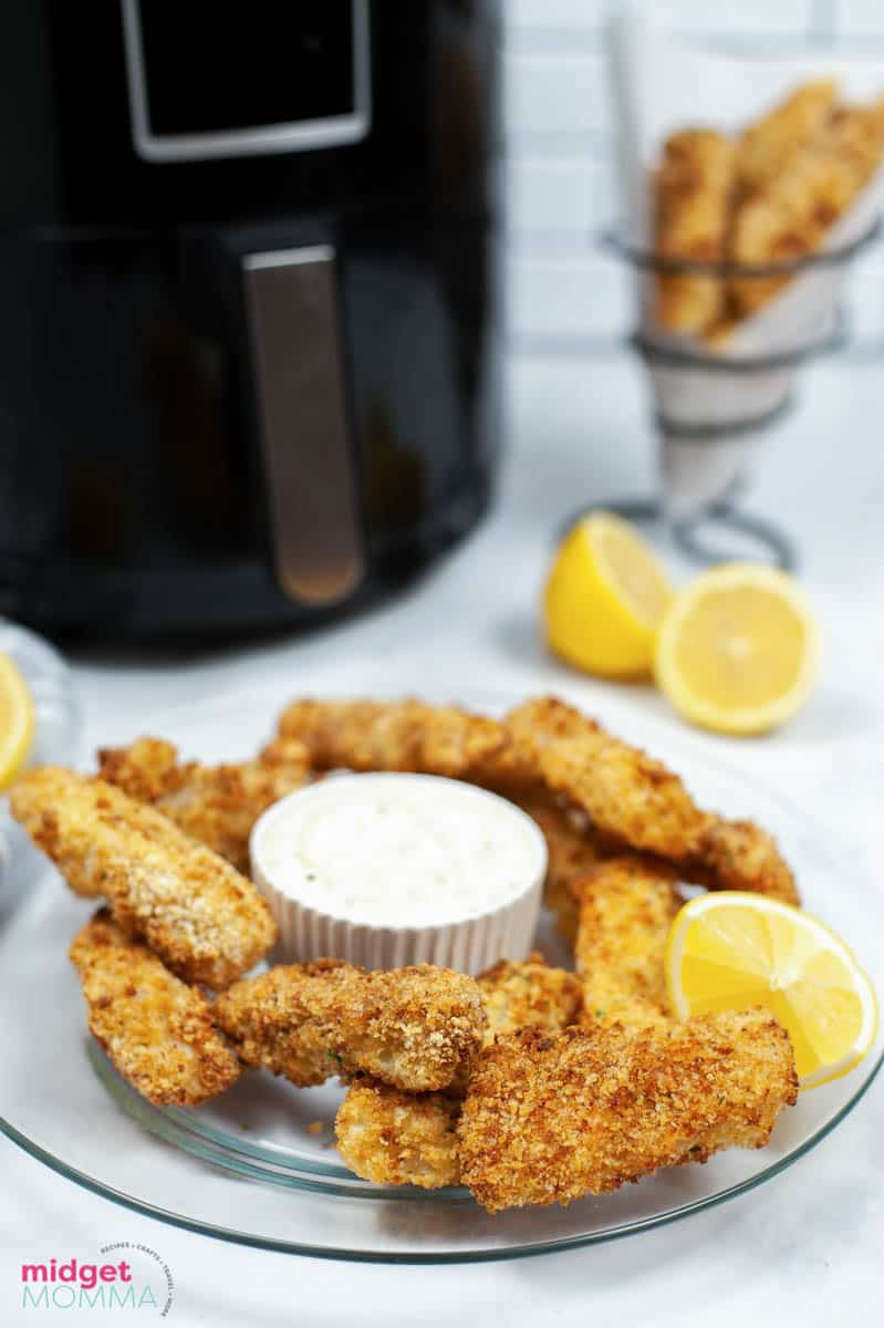 Air Fryer Fish Sticks on a plate