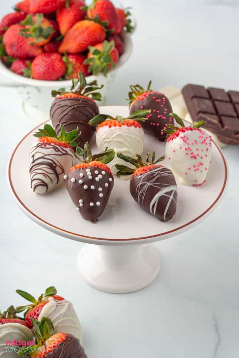 Easy Chocolate Covered Strawberries on a plate