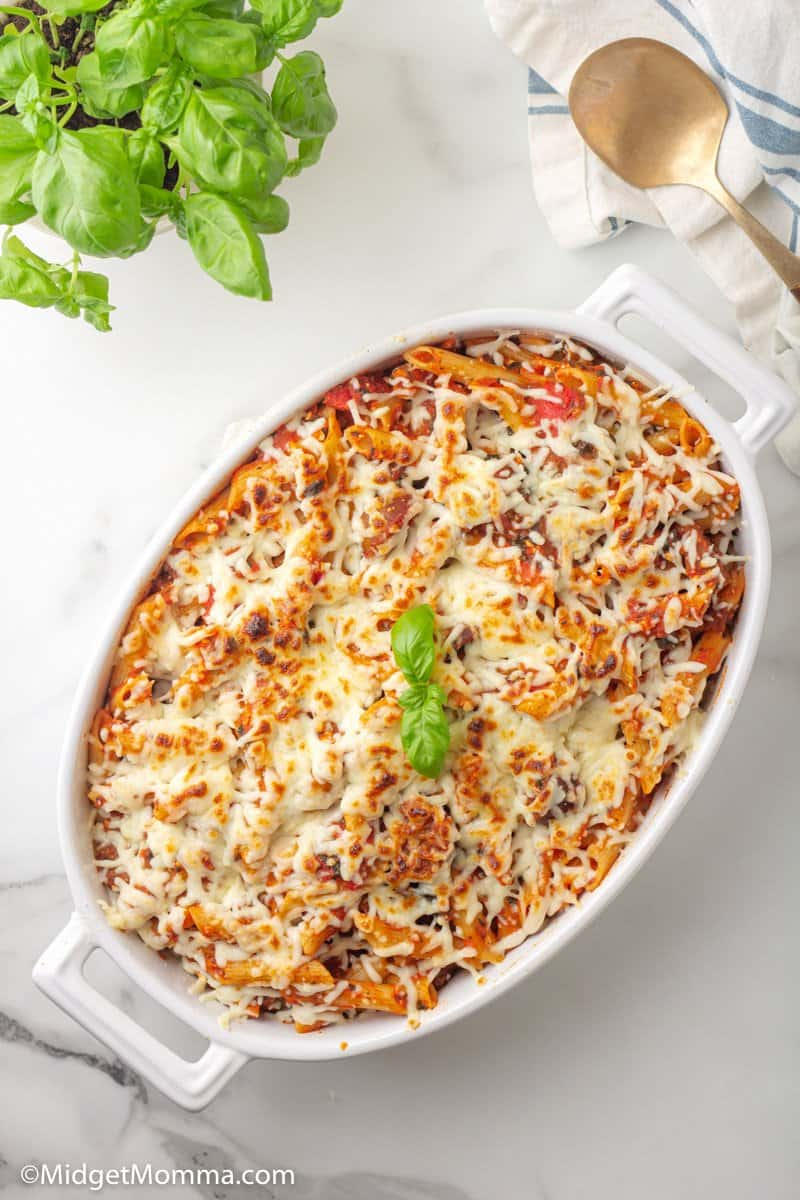 overhead shot of Spinach and Sausage Baked Penne Pasta