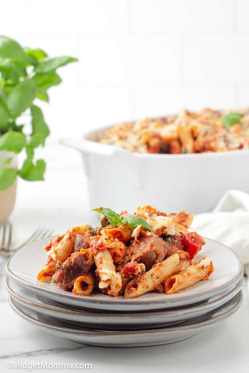 Spinach and Sausage Baked Penne Pasta on a plate