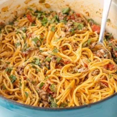 pot full of Taco Spaghetti