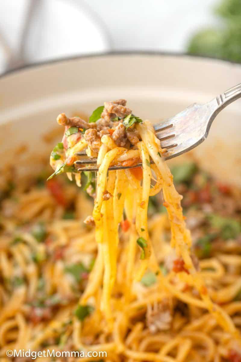 Forkful of Taco Spaghetti
