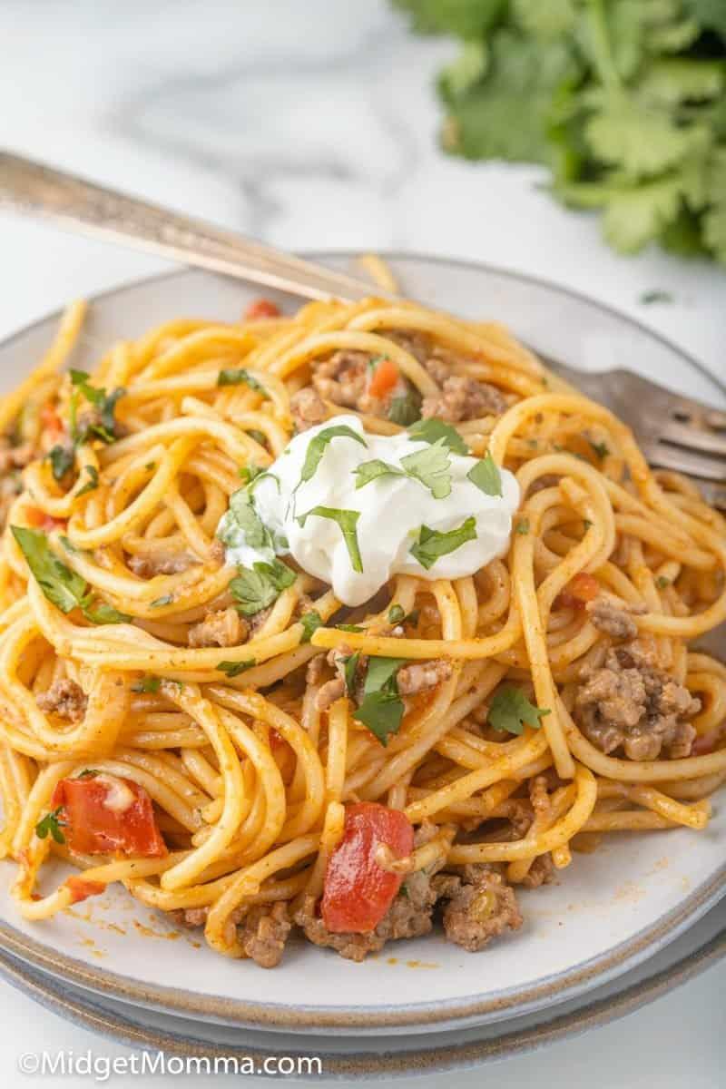 close up photo of Taco Spaghetti on a plate