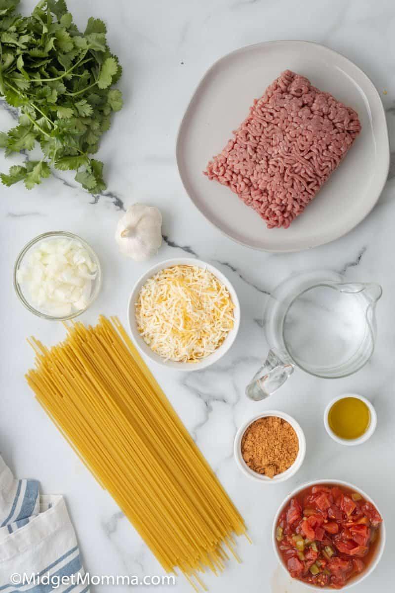 Taco Spaghetti ingredients