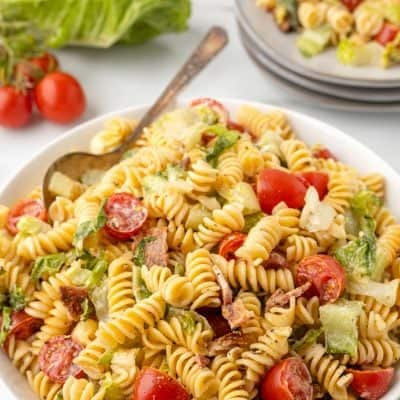 close up photo BLT Pasta Salad Recipe