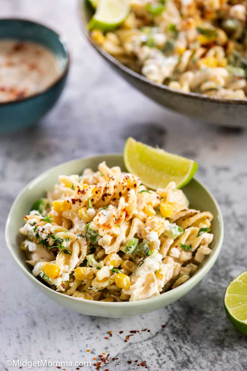 Mexican street Corn Pasta Salad Recipe in a serving bowl