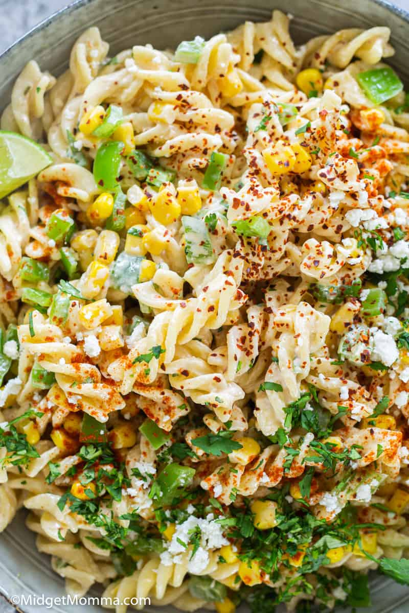 close up photo of Mexican street Corn Pasta Salad Recipe