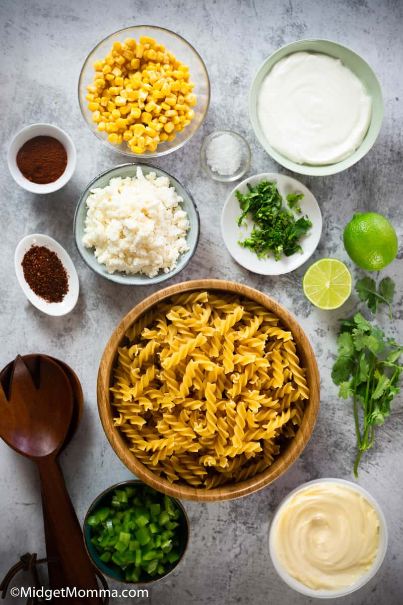 Mexican street Corn Pasta Salad Recipe ingredients