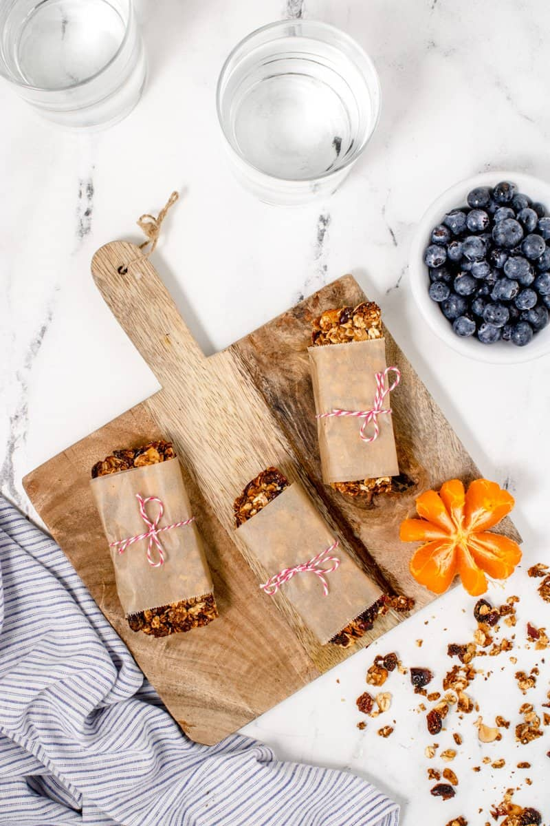 cranberry granola bars wrapped in paper