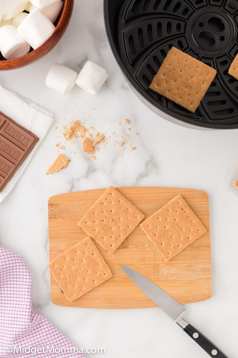 graham crackers broken in half for s'mores