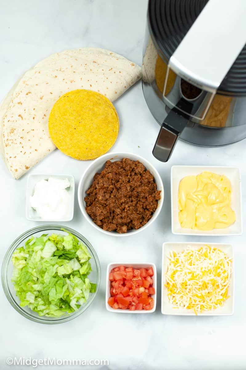 Air Fryer Taco Bell Copycat Crunchwrap Supreme ingredients