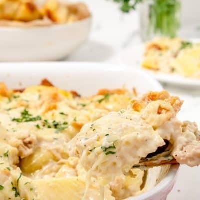 Chicken Alfredo Ravioli Bake