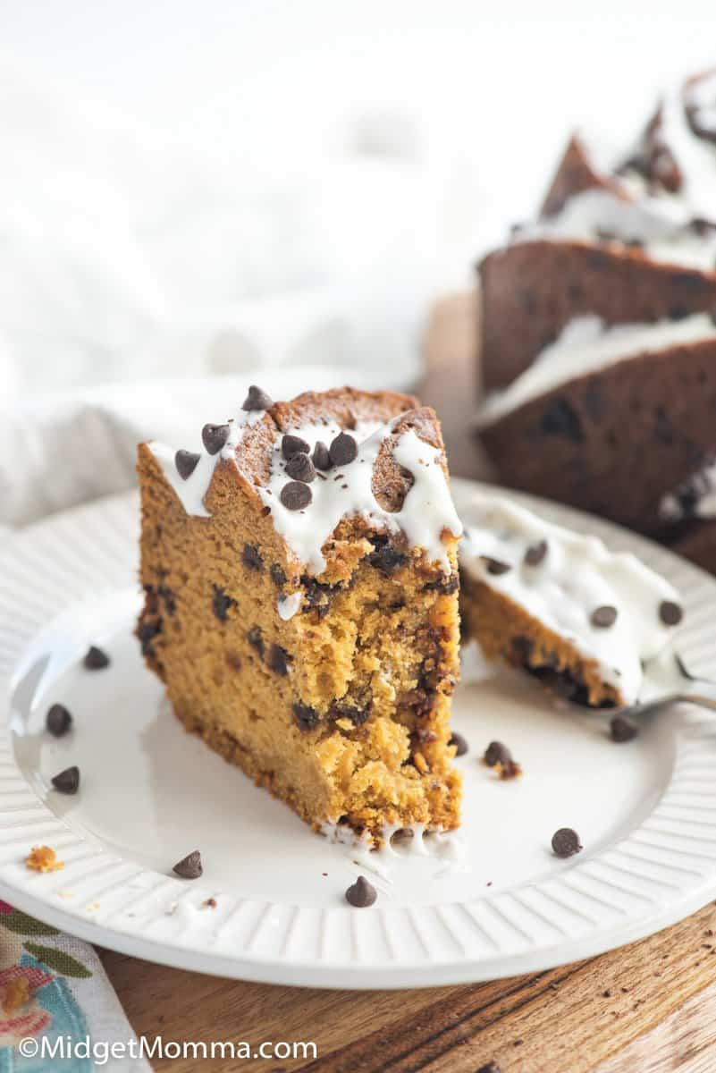 slice of pumpkin chocolate chip cake