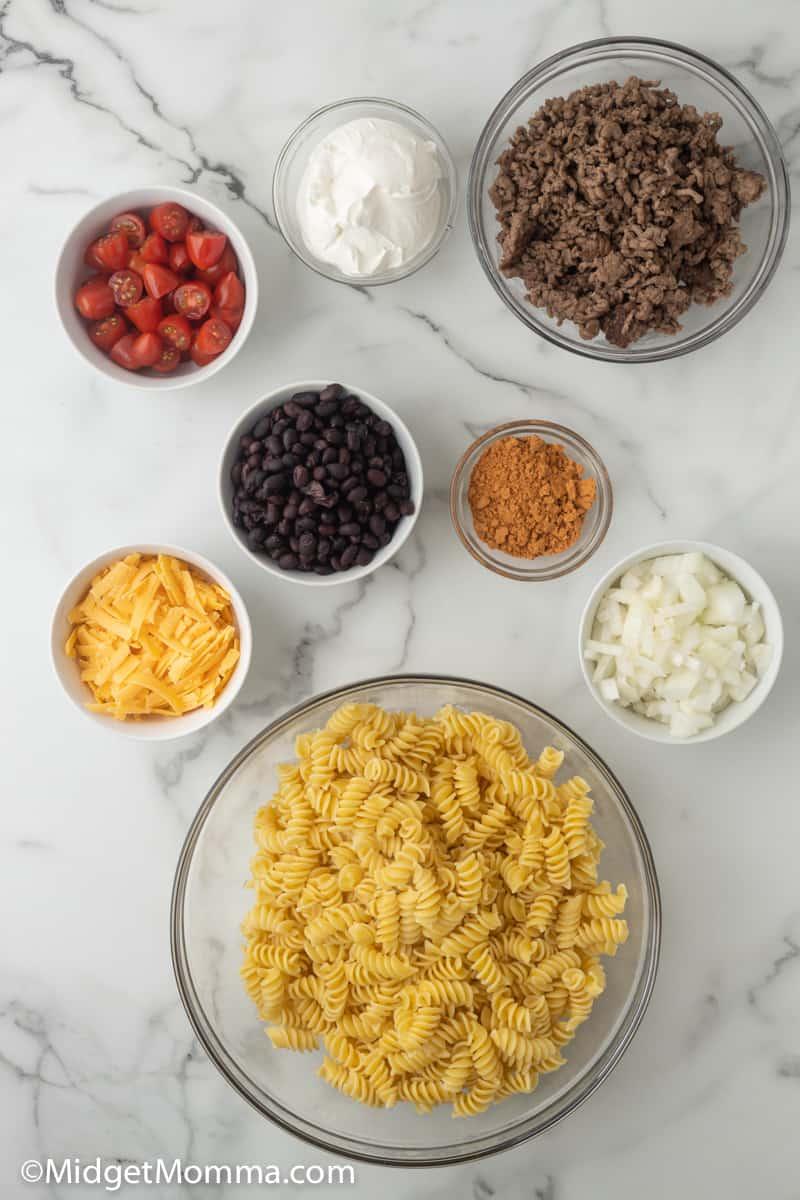 Taco Pasta Salad ingredients