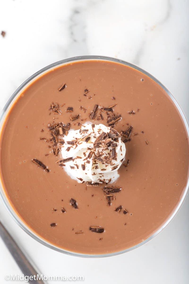 overhead shot of chocolate pudding
